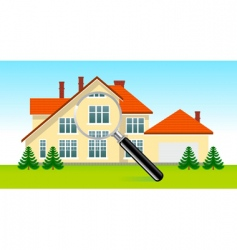 house under magnifying glass vector image vector image