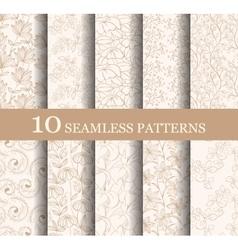Set of 10 seamless flower patterns vector image