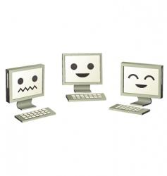three cute computers computers vector image vector image