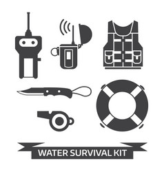 water emergency surival kit icons vector image