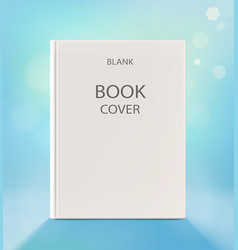 Blank vertical book cover on a light blue backdrop vector image
