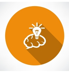 Brain Icon with Light Bulb vector image vector image
