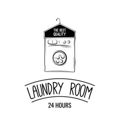 laundry room label badge logo with hanger vector image vector image