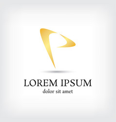 letter p logo curve style design template vector image