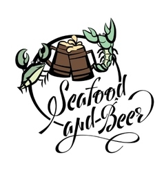 Logo seafood and beer lettering Crayfish and crab vector image