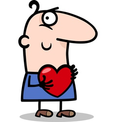 man with heart cartoon vector image vector image