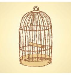 Sketch bird cage in vintage style vector image
