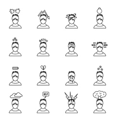 Stress icons set in thin line style vector image vector image