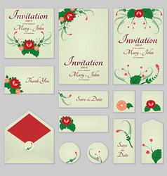 collection greeting cards with stylized red roses vector image vector image