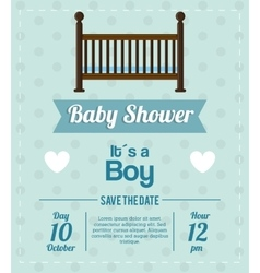 Cradle of baby shower card design vector image vector image