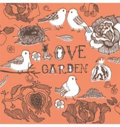 love birds in garden vector image vector image