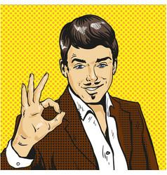man showing ok sign pop art comic vector image