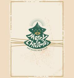 merry christmas retro card design vector image vector image