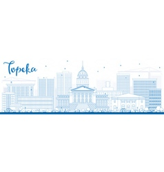 Outline Topeka Skyline with Blue Buildings vector image
