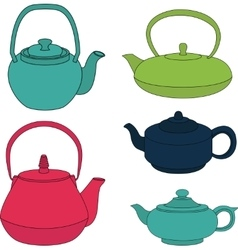 set of color silhouette teapot icons vector image vector image