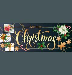christmas design composition of poinsettia fir vector image