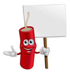 dynamite mascot holding a sign vector image