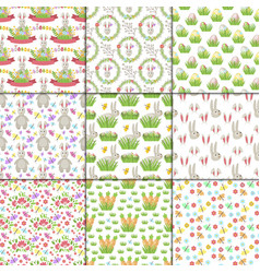 easter cartoon seamless pattern background vector image
