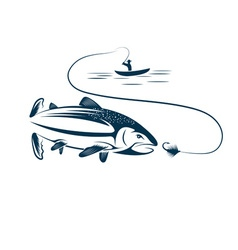 fisherman in boat and salmon vector image vector image