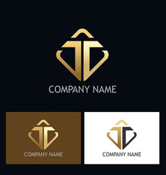 gold letter t company logo vector image vector image