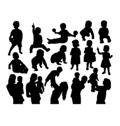 happy mother with son silhouettes vector image vector image