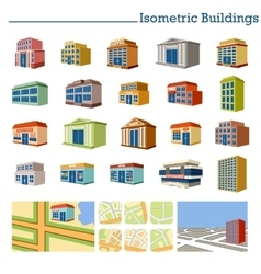 Isometric Buildings and maps vector image vector image