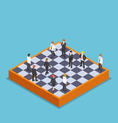 isometric businessman playing business chess vector image