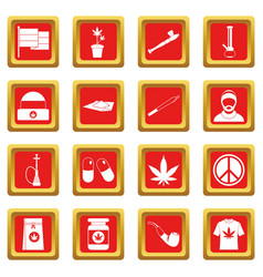 Rastafarian icons set red vector