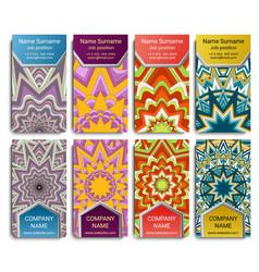set of visiting card with mandala geometric vector image