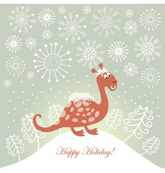 snowy cute dragon for greeting card vector image