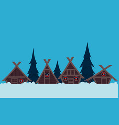 viking village in winter vector image vector image