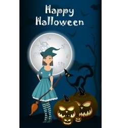 young happy and attractive witches vector image