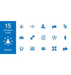 15 social icons vector