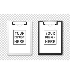3d realistic white and black clipboard with vector