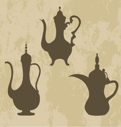 a jug of old Arabic Arabic coffee pots vector image