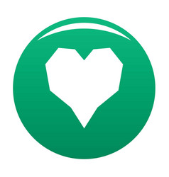 Angular heart icon green vector