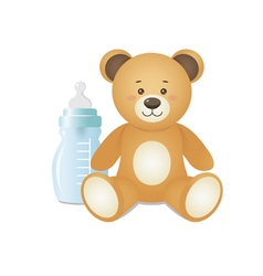 Bear is sitting with feeding bottle vector image