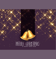 beautiful golden sparkles with christmas bells vector image