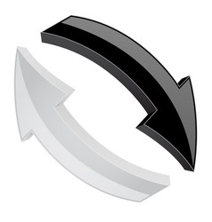 black and white refresh arrows 3d shiny signs in vector image
