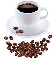 Black coffee in white cup and grains vector