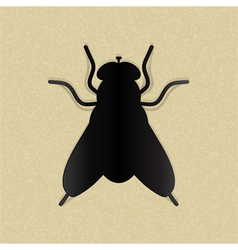 Black silhouette of a fly on yellow paper vector