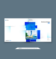 blue square brochure cover template layout design vector image