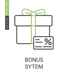 bonus system icon with editable stroke in flat vector image