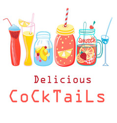 Bright colored cocktails vector