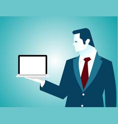 Businessman holding laptop empty white screen vector