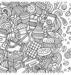 cartoon doodles coffee frame sketchy cafe vector image