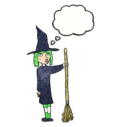 Cartoon witch with thought bubble vector