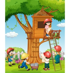 Children building treehouse in the park vector image