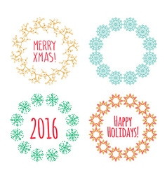 Christmas wreath drawn set vector image