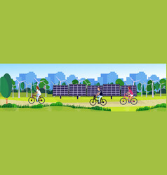 city park people cycling clean energy wind vector image